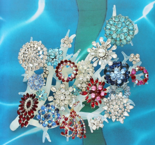 july 4 rhinestone brooches red white blue