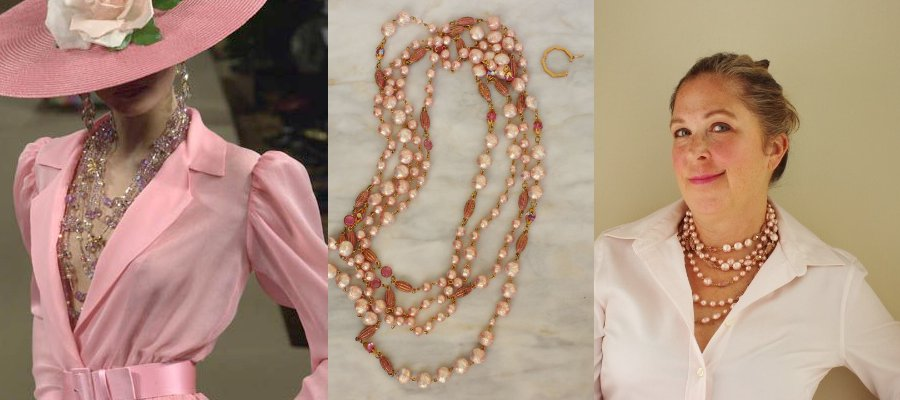 YSL pink necklace inside blouse