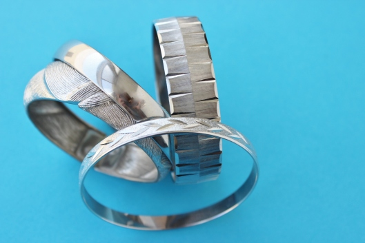 silver tone hard bangles