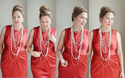 shopify orange dress pearls